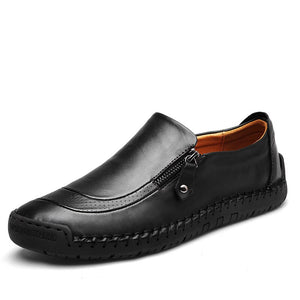 Fotwear Men's leather shoes Easy Slip on Non Lace up Casual style Zip up accessory Polished twist Flexible Cushioned footbed