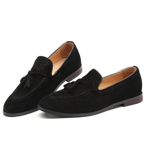 Merkmak Men Suede Loafers Shoes Tassel Design Business Shoes Men's Flats Big Size 47 Simple Slip On Male  Mans Casual Footwear