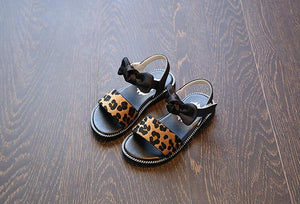 Girls Summer Shoes Gladiator New Fashion Leopard Print Kids Sandals Girls Shoes Bowknot Flat Sandals