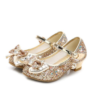 Children Single Girls High Heels Children Baby Pink Gold Silver Student Leather Flower