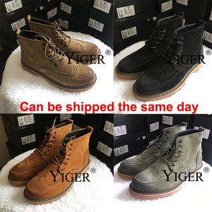 YIGER New Men Boots Martens man Ankle Boots Leather Oxford sole Bullock Man Desert Bots Lace-up Male cowboy boots   0167