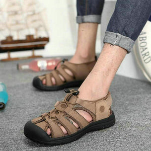 Summer Mens genuine leather Sandals man Casual Breathable Beach Shoes Fashion barefoot closed toe sandals rubber Slippers RB-02