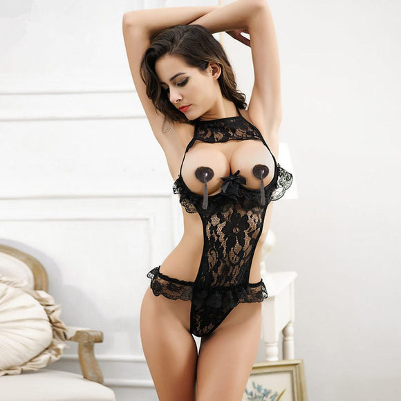 Black Lace Open Bust Transparent Lingerie