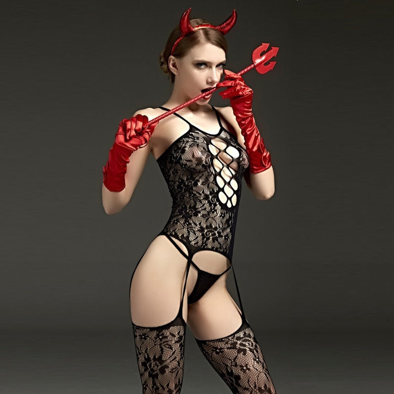 Fishnet Body Suit Lingerie Stocking