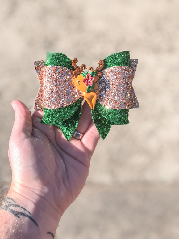 Rose Gold Deer Christmas Clay Bow