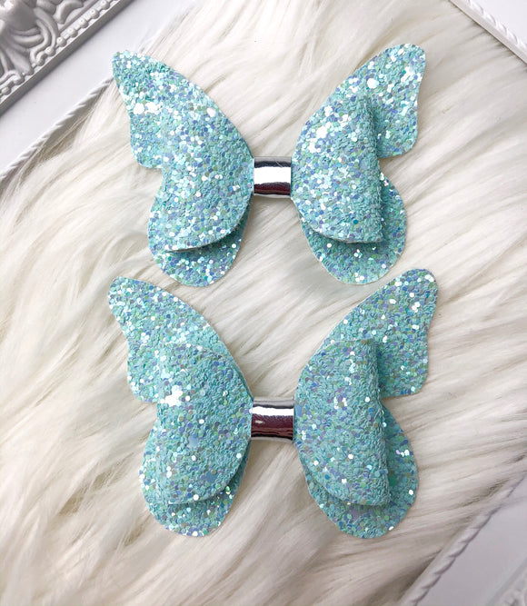 Light Blue Butterfly Pig Tail Bows