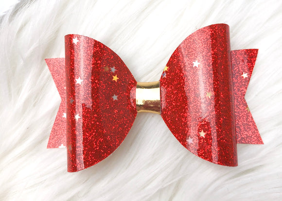 Red Stars Christmas Bow