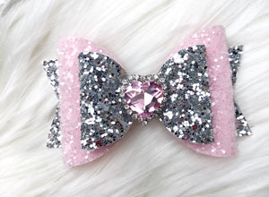 Sparkly Heart Bow