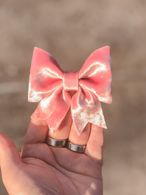 Pink Ice Velvet Sailor Bow