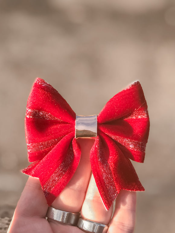 Red Ribbon Velvet Sailor Bow