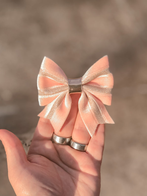 Pink Ribbon Velvet Sailor Bow