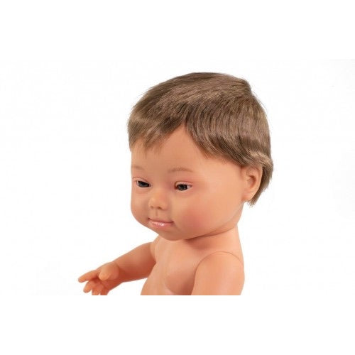 Miniland Doll 38cm Caucasian Down Syndrome Boy Dressed