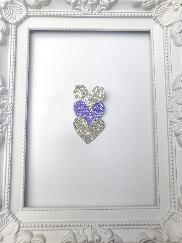 White & Purple Heart Fringe Clip