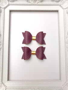 Plum Pig Tail Bows