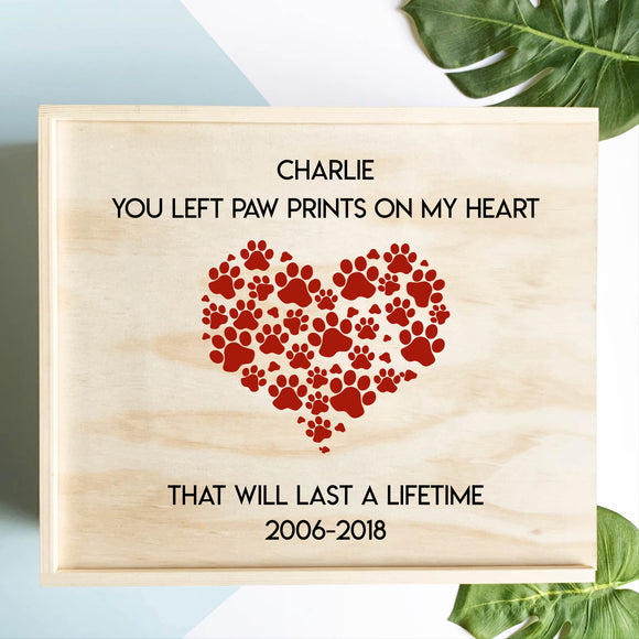 Paw Prints On My Heart Memorial Keepsake Box