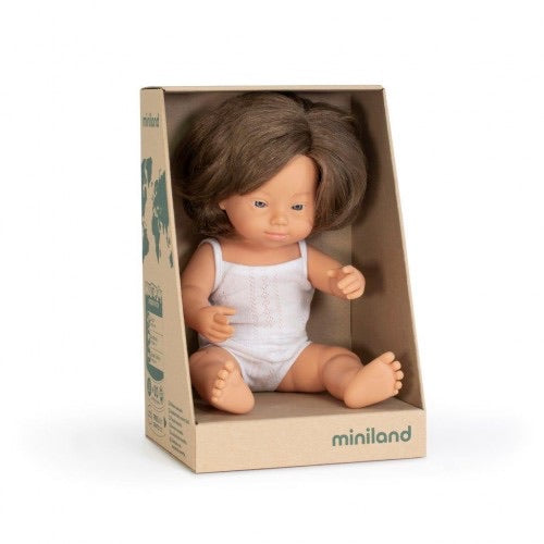 Miniland Doll 38cm Caucasian Down Syndrome Girl Dressed