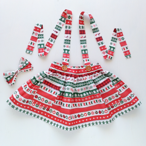 Christmas Candy Suspender Skirt with Headband