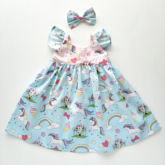 Blue Unicorn Flutter Dress