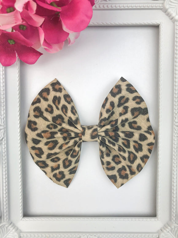 Leopard Suede Bow