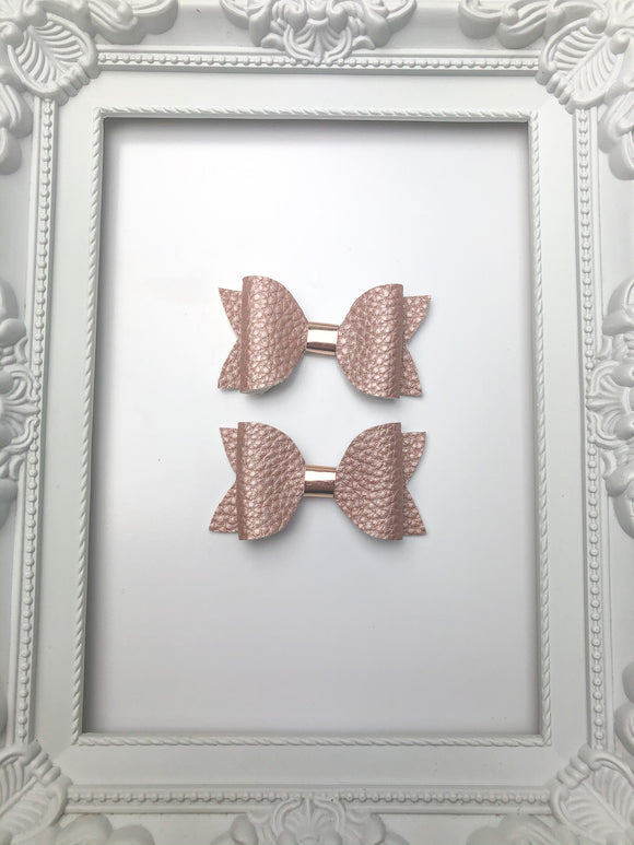 Rose Gold Pig Tail Bows