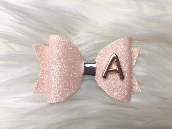 Gold & Peach Letter Bow