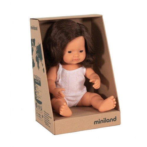 Miniland Doll 38cm Caucasian Girl Brunette Dressed