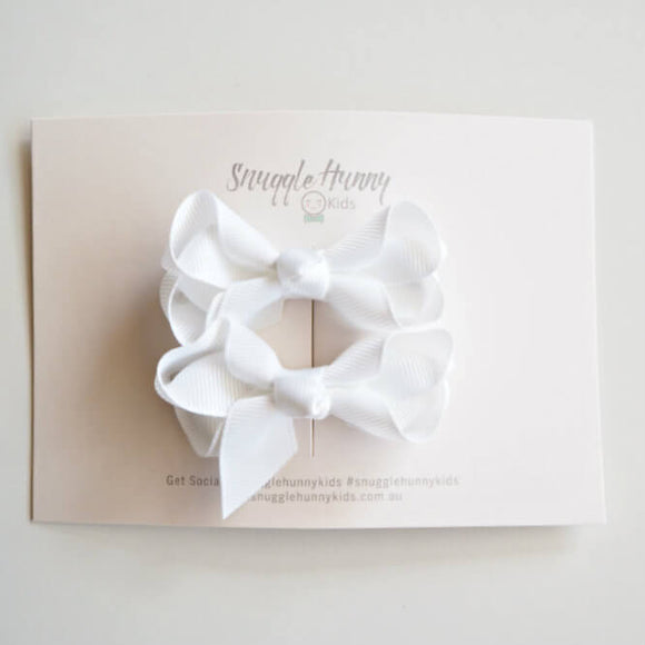 White Clip Bow - Small Piggy Tail Pair