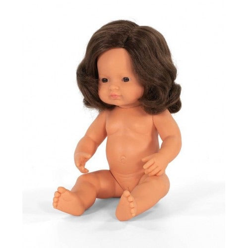 Miniland Doll 38cm Caucasian Girl Brunette Undressed