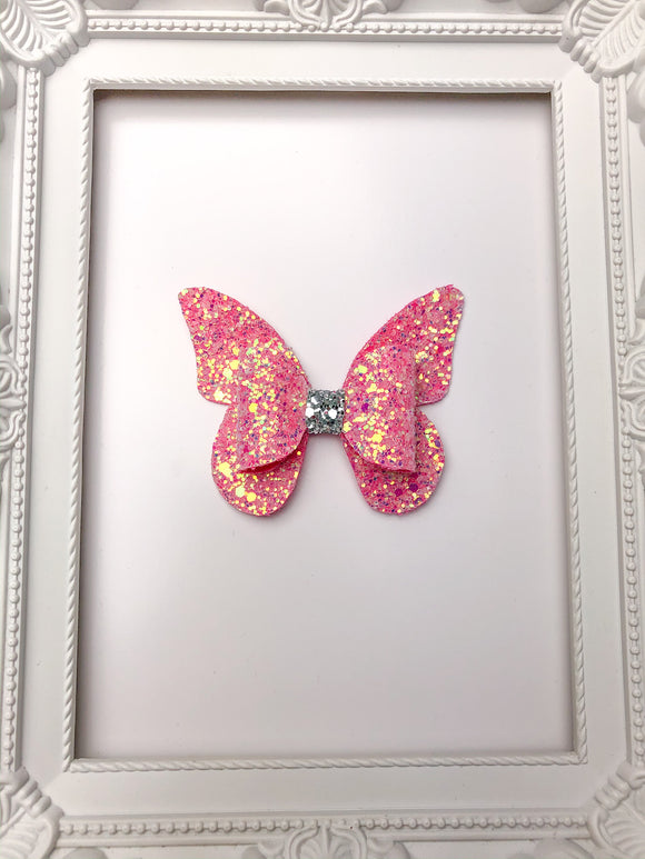 Raspberry Frosted Butterfly Bow