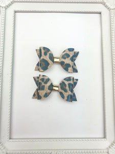 Brown Leopard Pig Tail Bows