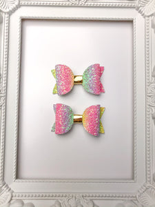 Over The Rainbow Pig Tail Bows