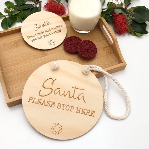 Santa Sign Set - Please Stop Here