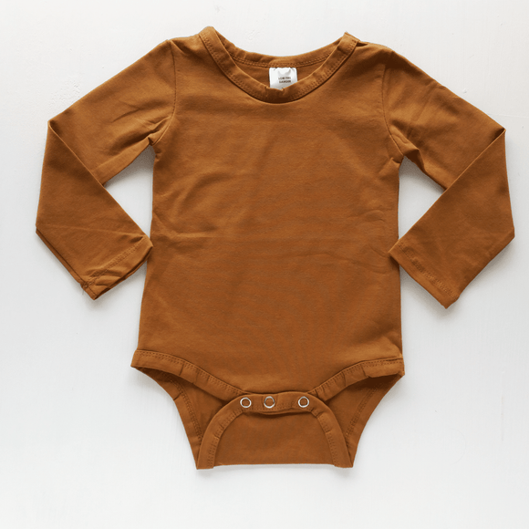 PRE ORDER Long Sleeve Bodysuit Saddle Brown