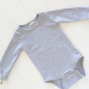 Light Frosted Grey Long Sleeve Bodysuit