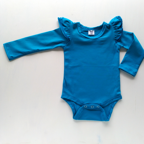 Long Sleeve Flutter Ocean Blue