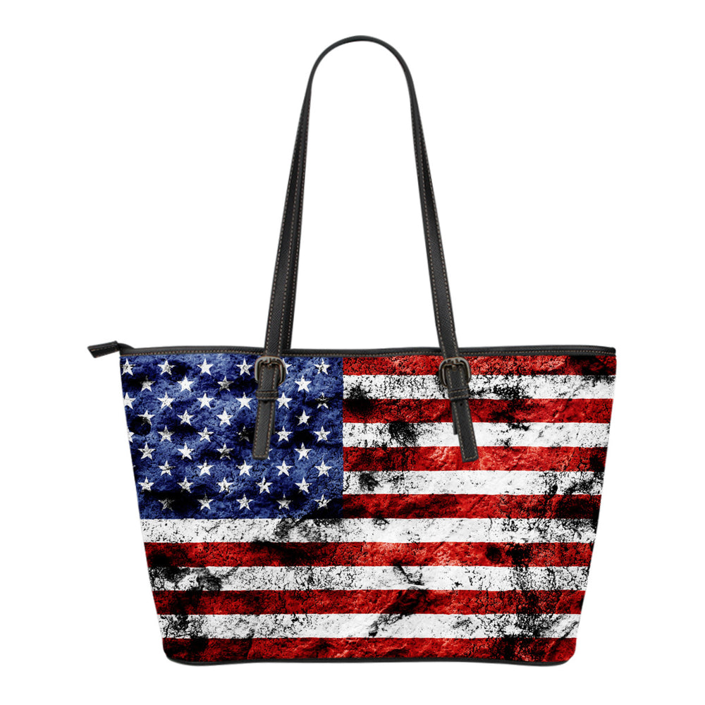 USA Flag Small Leather Tote