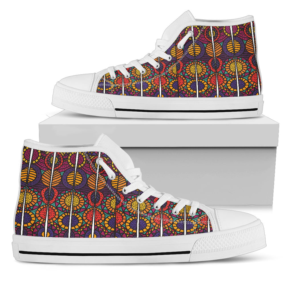 African print Men's High Top Shoes Casual Shoes - CRE8Custom