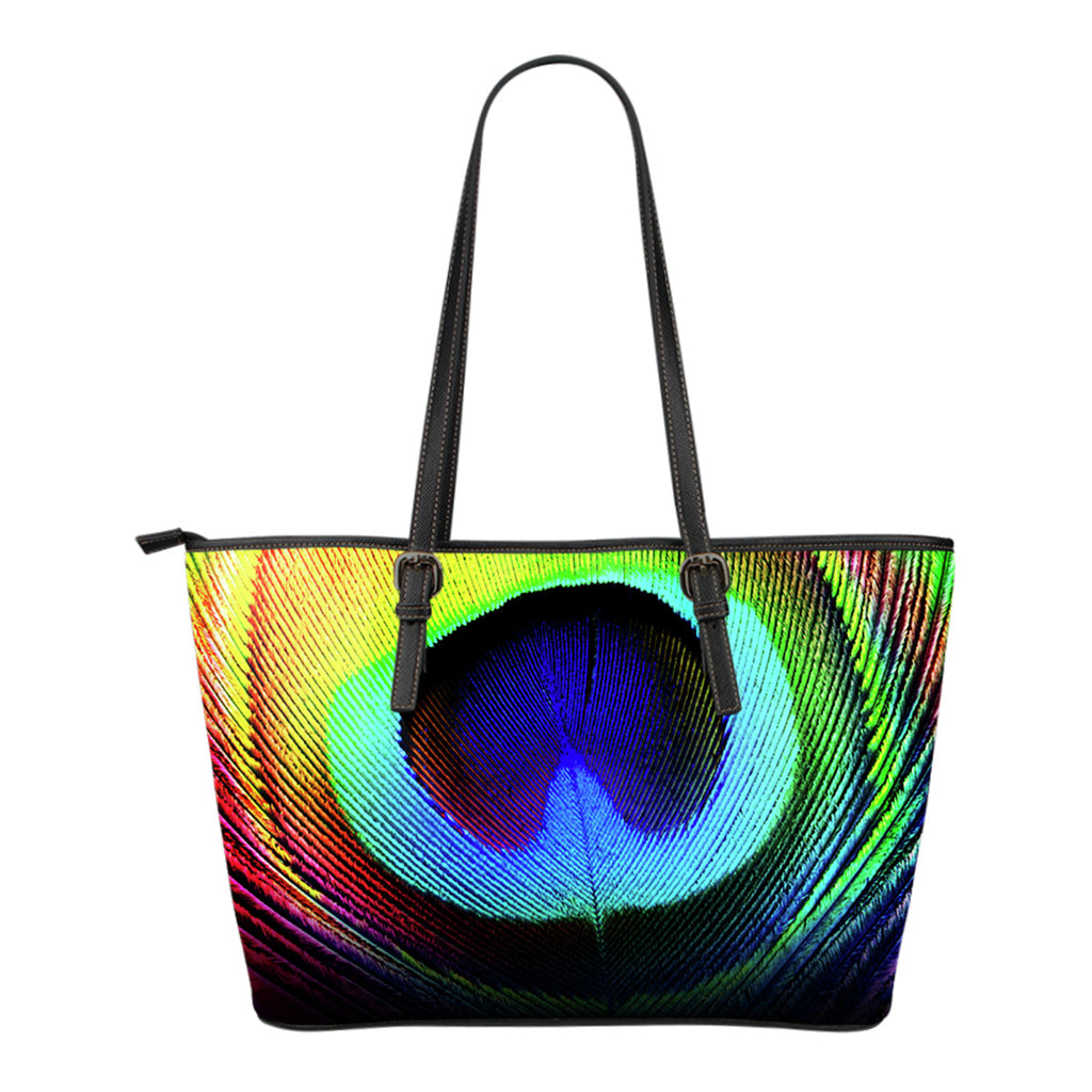 Peacock Colours Small Leather Handbag