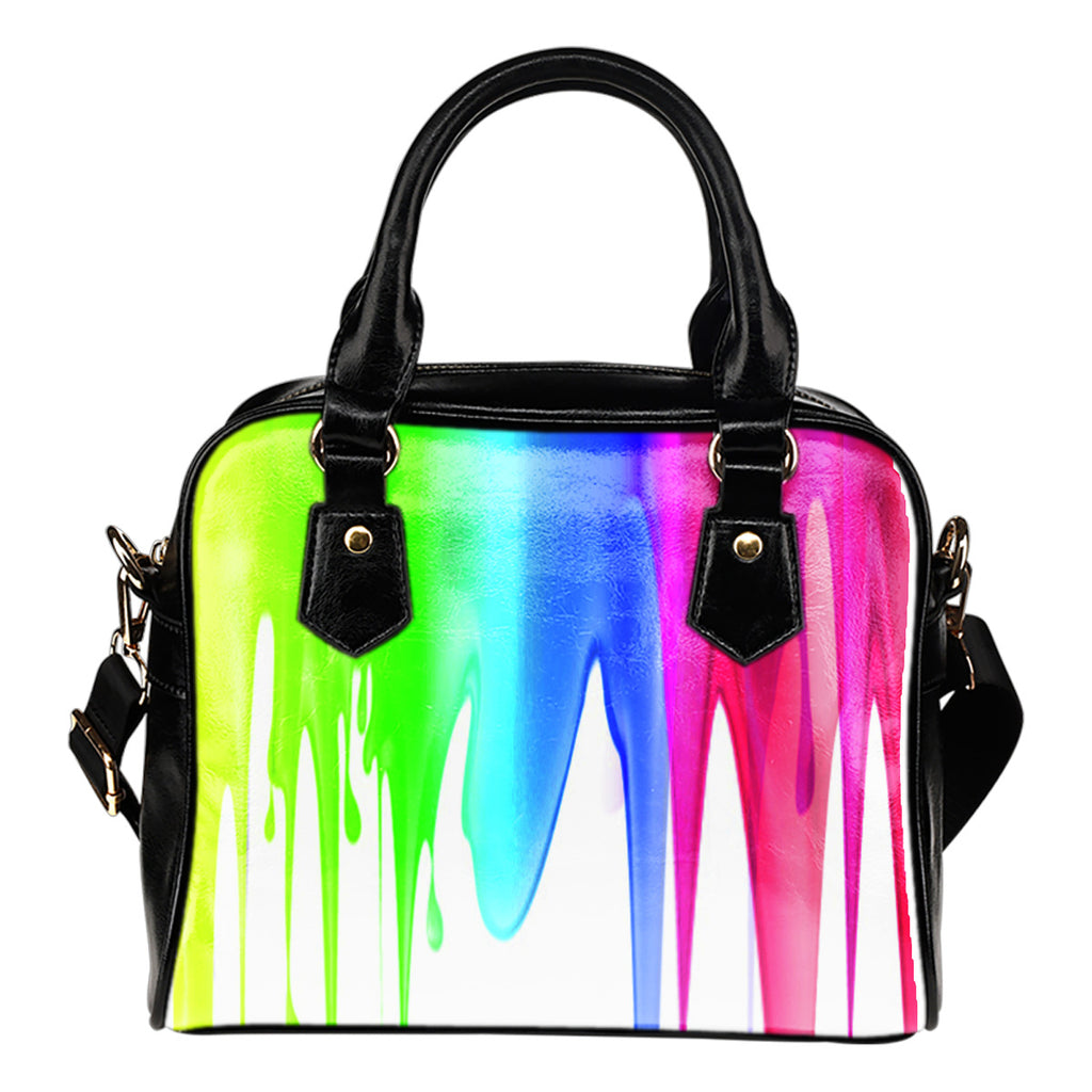 Leather Shoulder Bag Stylish Art Paint Custom Print Design