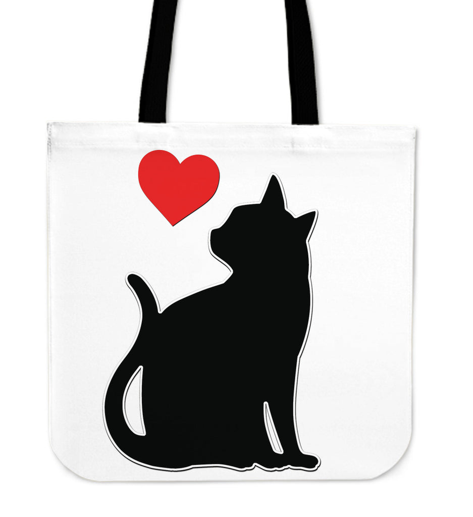Black Cat Red Heart Tote Bag - CRE8Custom