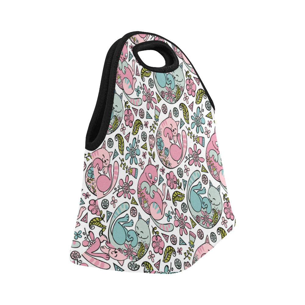 Cute Cats Flowers Neoprene Lunch Bag/Small - CRE8Custom