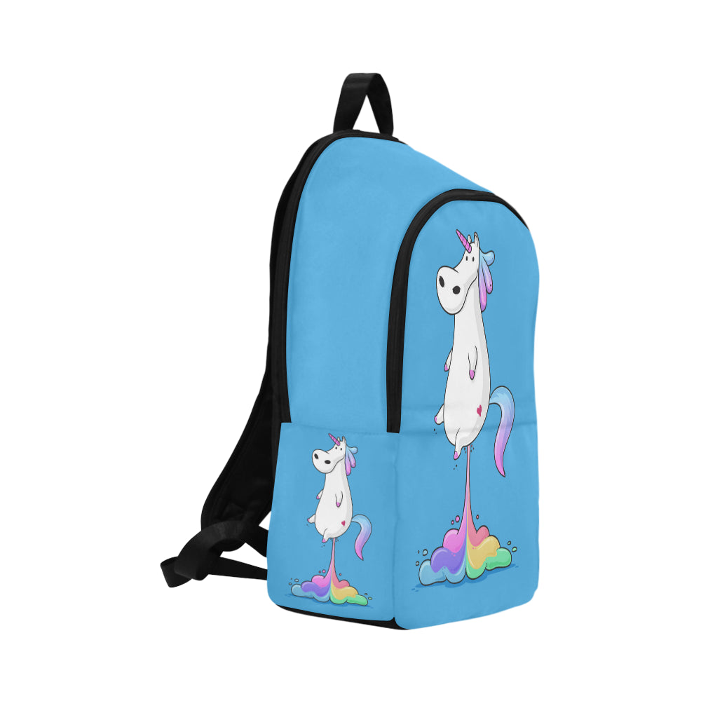 Cute fat unicorn farting rainbow Fabric Backpack for Adult - CRE8Custom