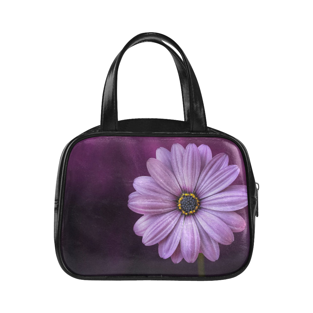 Leather Top Handle Handbag Flower Purple Lical Blosso