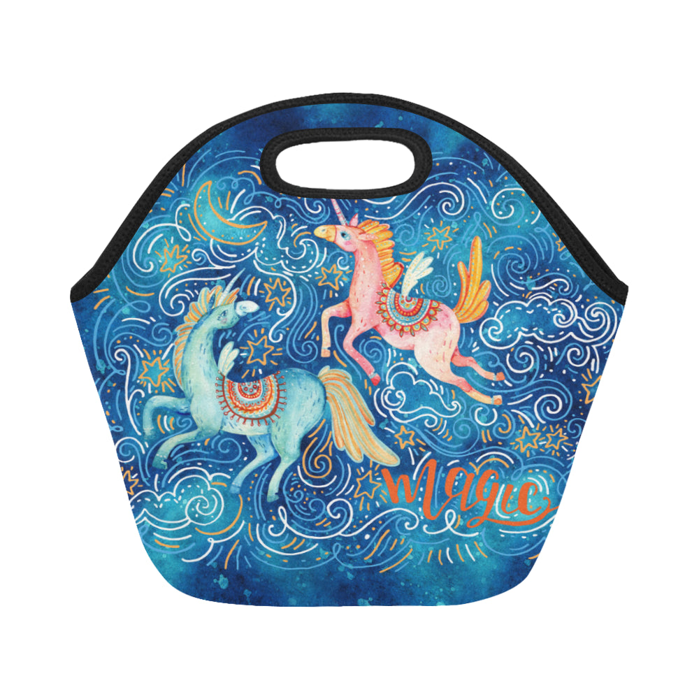 Watercolor Pair of Flying Unicorns Neoprene Lunch Bag/Small