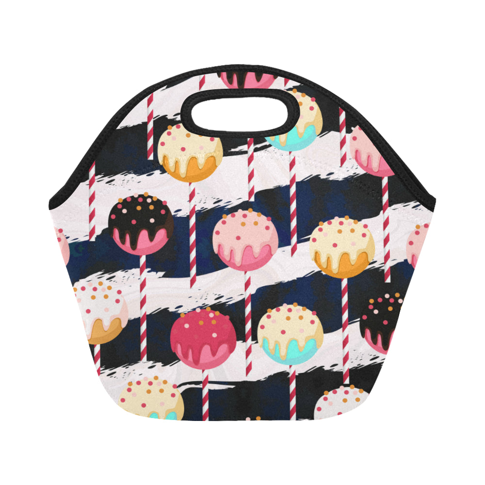 Chocolate Cake Pops on Stripped Sticks Neoprene Lunch Bag/Small - CRE8Custom
