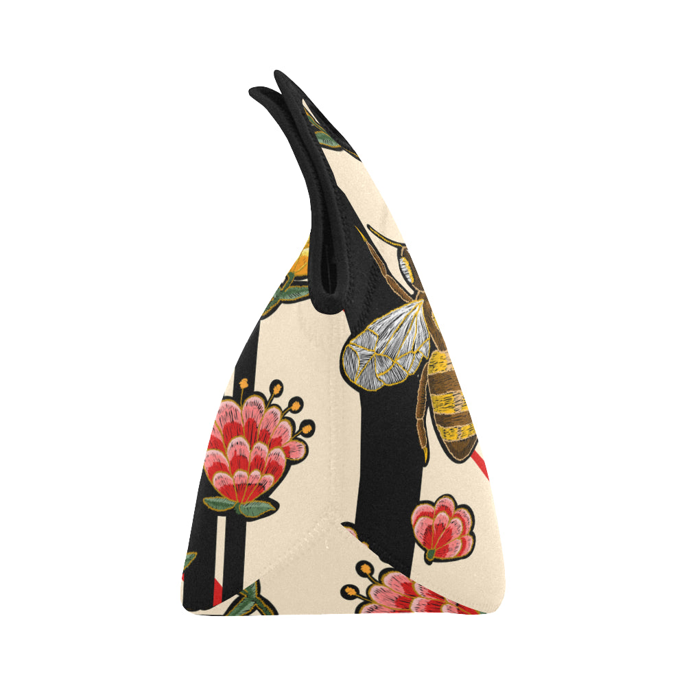 Bee And Flowers Neoprene Lunch Bag/Small - CRE8Custom