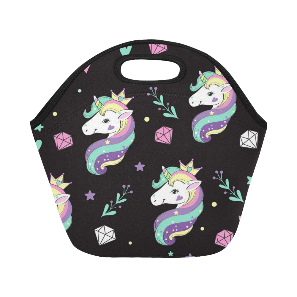 Beautiful unicorns and diamonds Neoprene Lunch Bag/Small - CRE8Custom