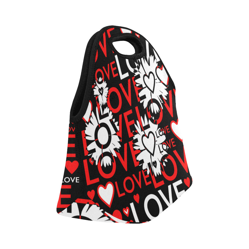 Love words with Flowers Neoprene Lunch Bag/Small