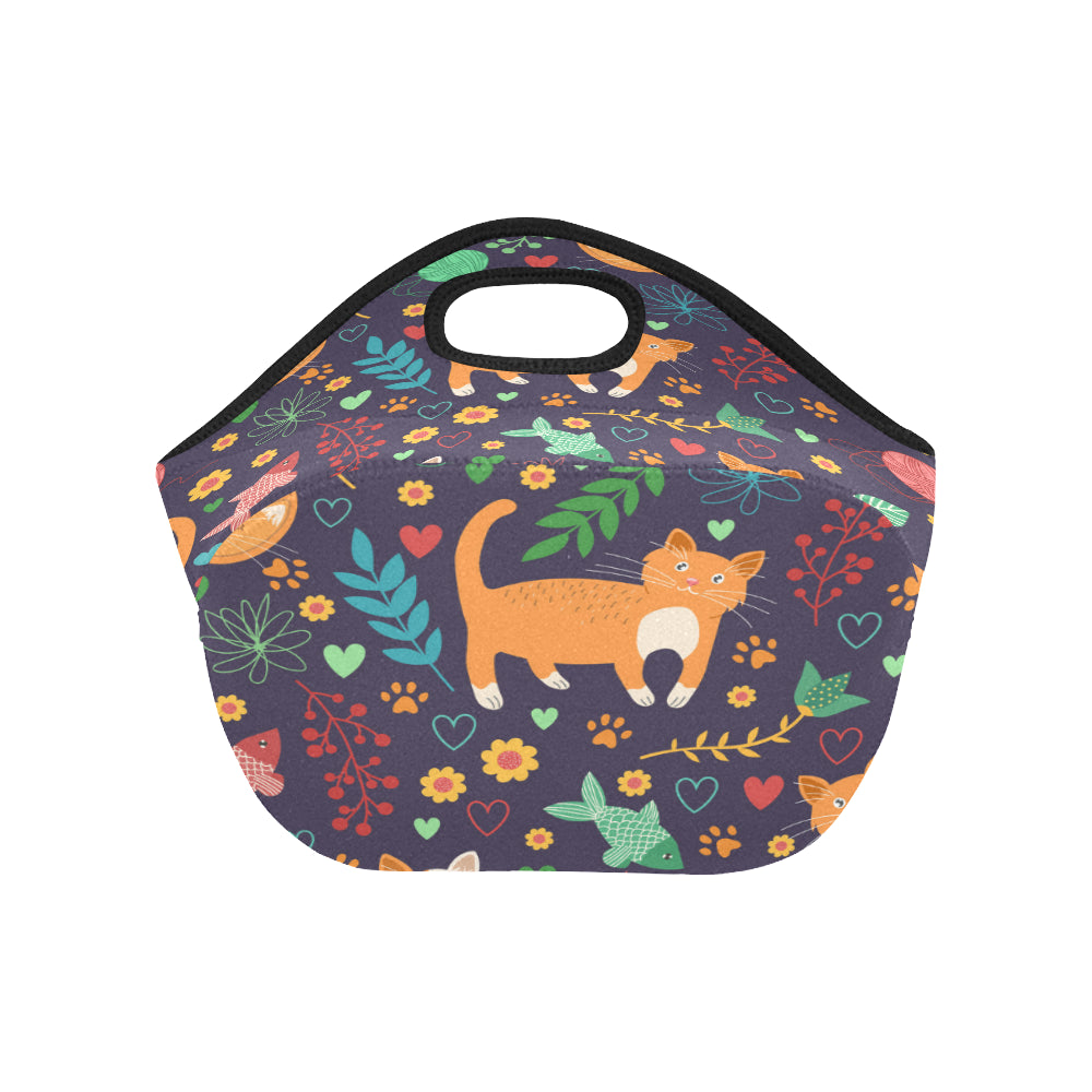 Seamless Pattern With Cute Cats Neoprene Lunch Bag/Small