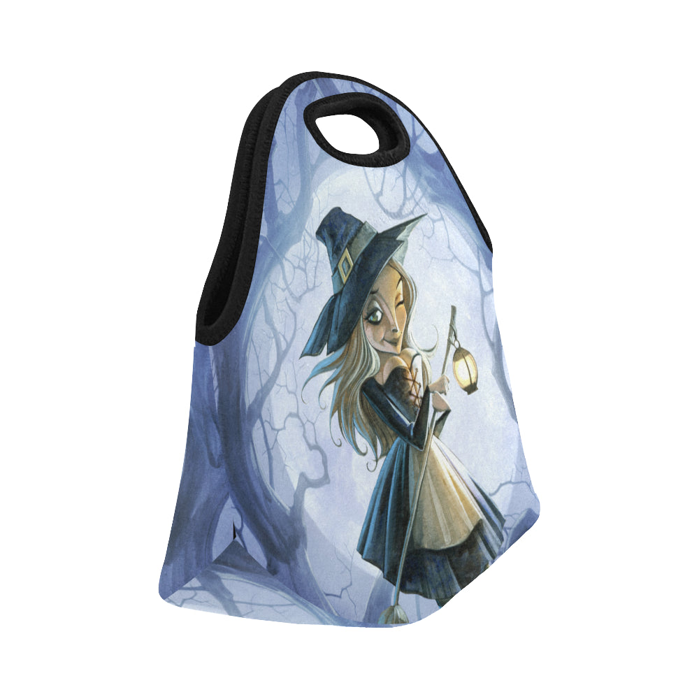 Halloween witch with a broomstick and a lantern Neoprene Lunch Bag/Small - CRE8Custom
